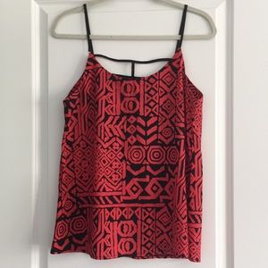 Red and black bold print tank.